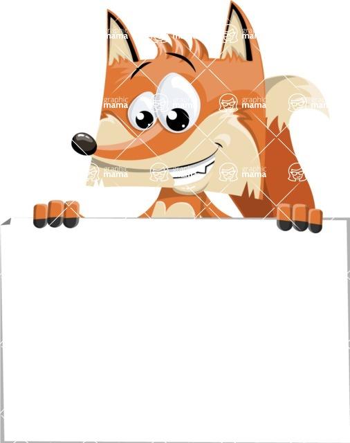 Flat Fox Cartoon Vector Character AKA Roy Foxly - Sign 6