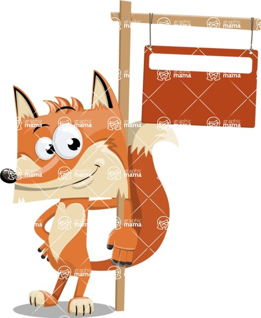 Flat Fox Cartoon Vector Character AKA Roy Foxly - Sign 9