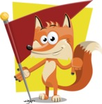 Flat Fox Cartoon Vector Character AKA Roy Foxly - Shape 11