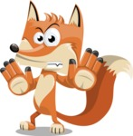 Flat Fox Cartoon Vector Character AKA Roy Foxly - Stop