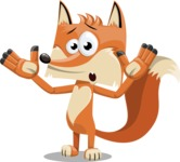 Flat Fox Cartoon Vector Character AKA Roy Foxly - Shocked