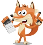 Flat Fox Cartoon Vector Character AKA Roy Foxly - Calculator