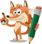 Flat Fox Cartoon Vector Character AKA Roy Foxly - Pencil