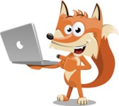 Flat Fox Cartoon Vector Character AKA Roy Foxly - Laptop 1