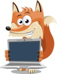 Flat Fox Cartoon Vector Character AKA Roy Foxly - Laptop 2