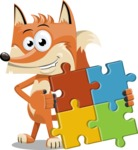 Flat Fox Cartoon Vector Character AKA Roy Foxly - Puzzle