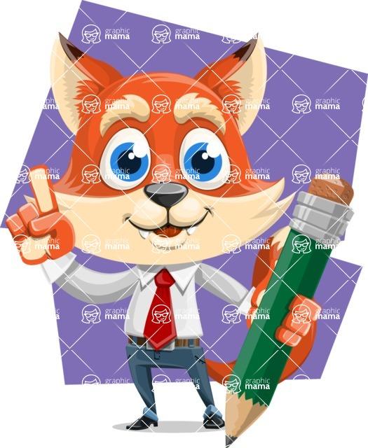 Fox Businessman Cartoon Vector character AKA Ben Tails - Shape 8
