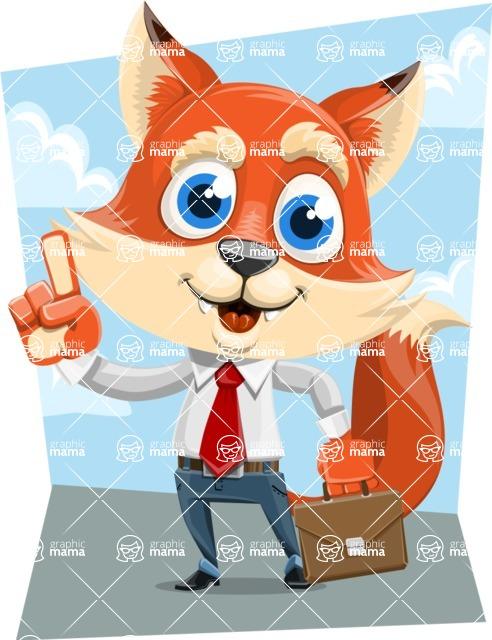 Fox Businessman Cartoon Vector character AKA Ben Tails - Shape 9