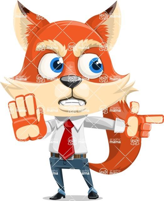 Fox Businessman Cartoon Vector character AKA Ben Tails - Direct Attention 2