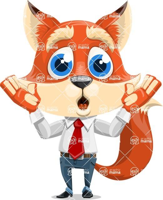 Fox Businessman Cartoon Vector character AKA Ben Tails - Shocked