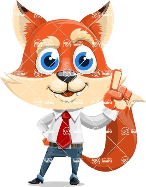 Fox Businessman Cartoon Vector character AKA Ben Tails - Attention