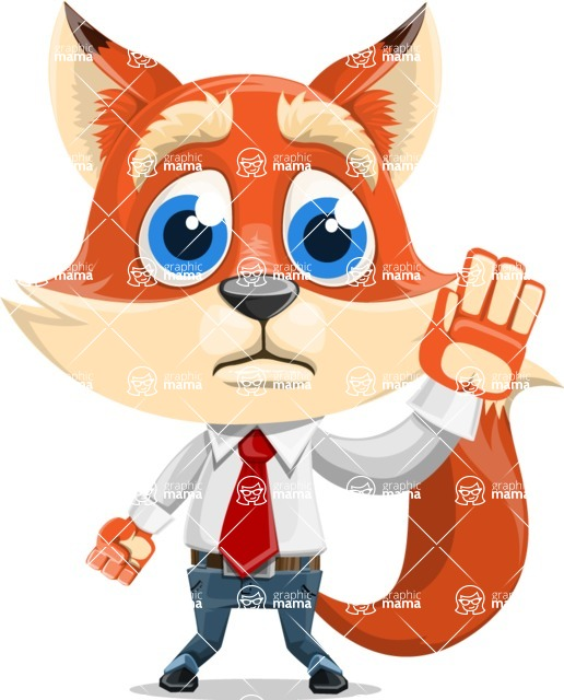 Fox Businessman Cartoon Vector character AKA Ben Tails - Goodbye