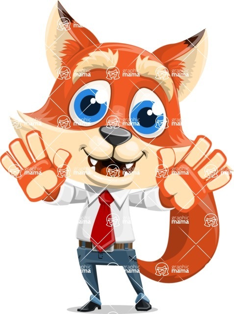 Fox Businessman Cartoon Vector character AKA Ben Tails - Hello