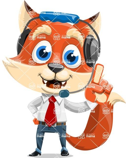 Fox Businessman Cartoon Vector character AKA Ben Tails - Support 2