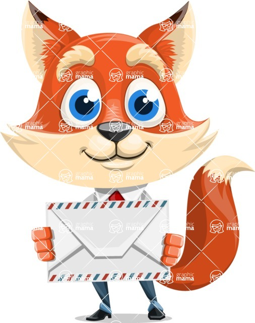 Fox Businessman Cartoon Vector character AKA Ben Tails - Letter