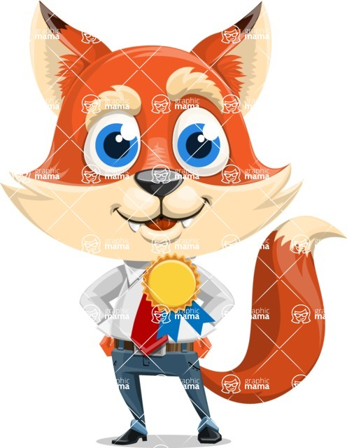 Fox Businessman Cartoon Vector character AKA Ben Tails - Ribbon