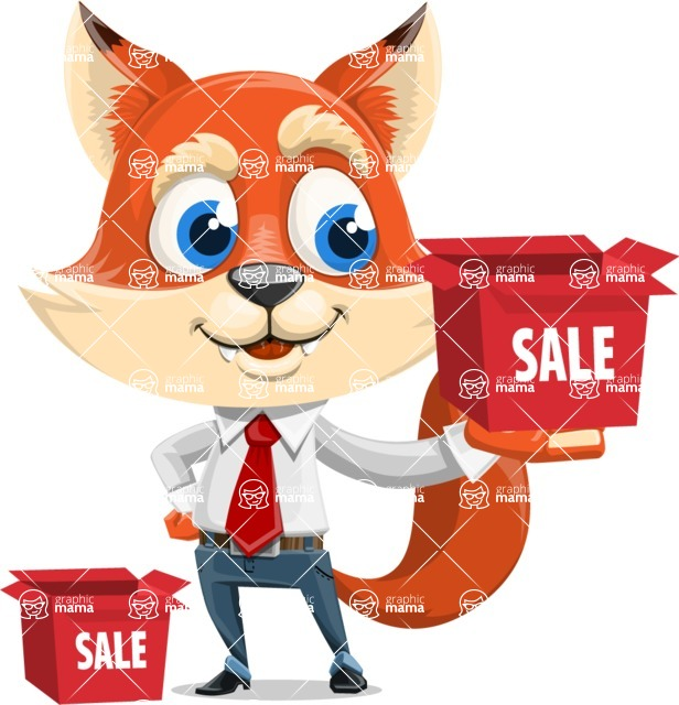 Fox Businessman Cartoon Vector character AKA Ben Tails - Sale