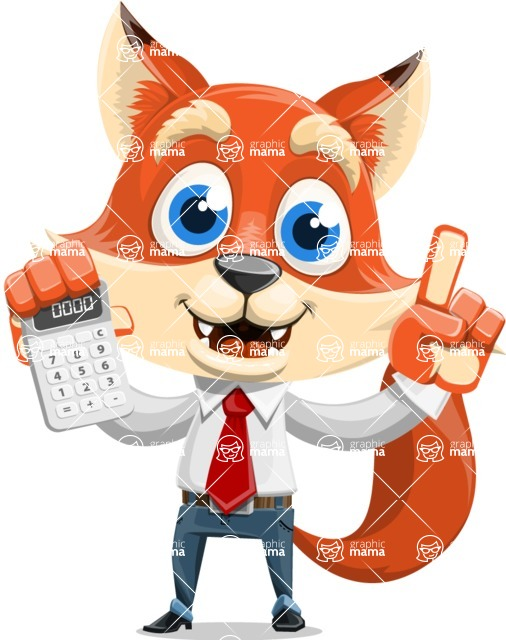 Fox Businessman Cartoon Vector character AKA Ben Tails - Calculator