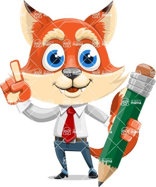 Fox Businessman Cartoon Vector character AKA Ben Tails - Pencil