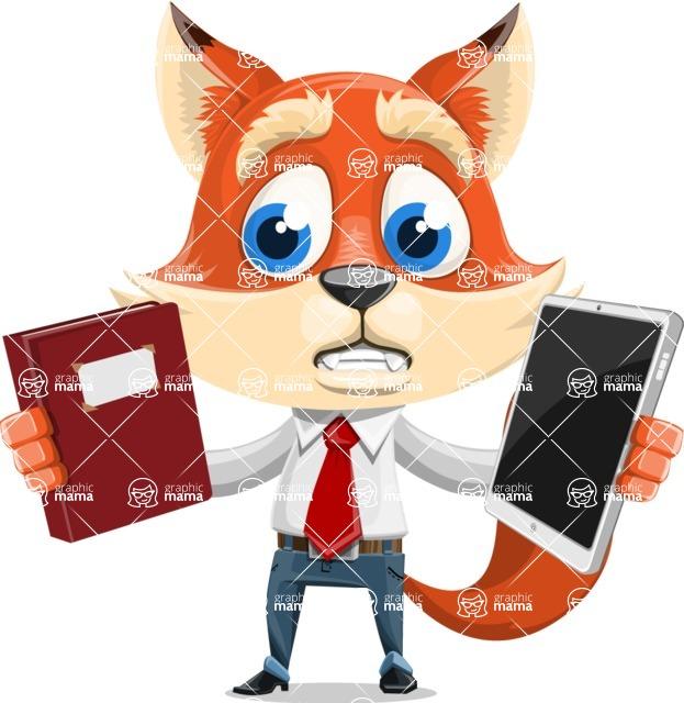 Fox Businessman Cartoon Vector character AKA Ben Tails - Book and iPad