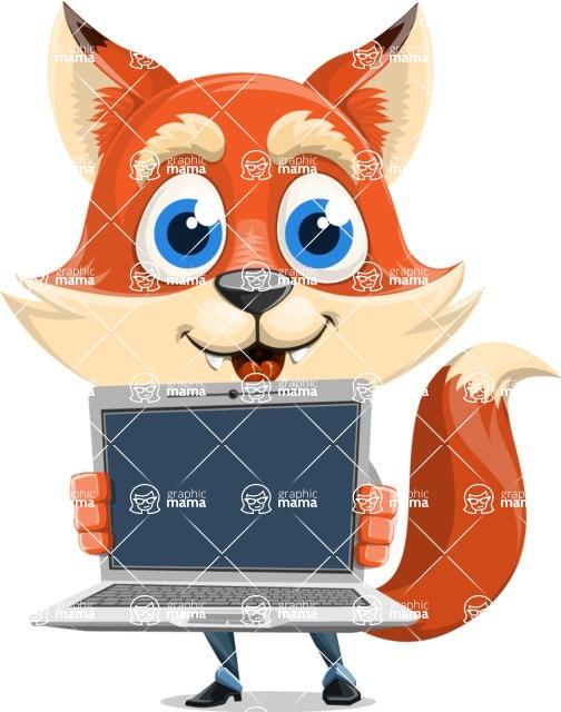 Fox Businessman Cartoon Vector character AKA Ben Tails - Laptop 2
