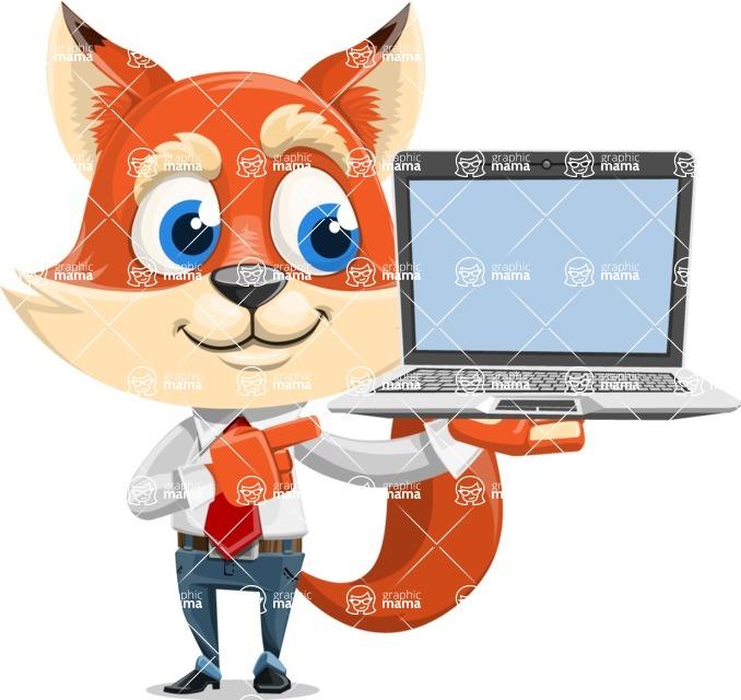 Fox Businessman Cartoon Vector character AKA Ben Tails - Laptop 3
