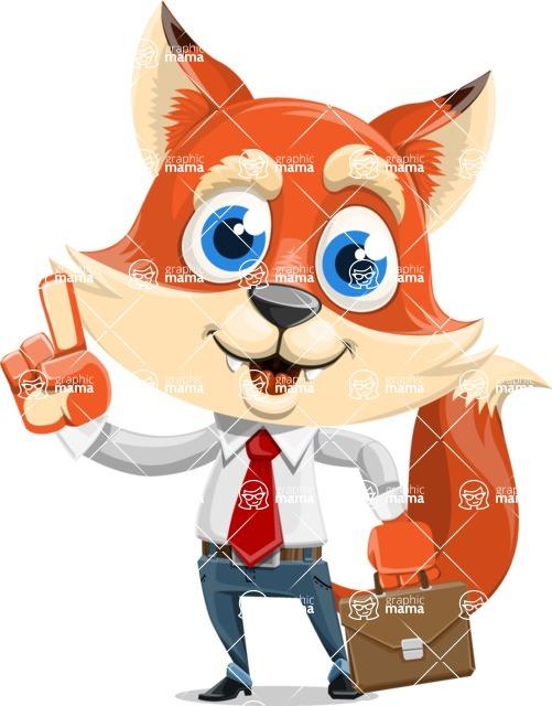 Fox Businessman Cartoon Vector character AKA Ben Tails - Briefcase 2