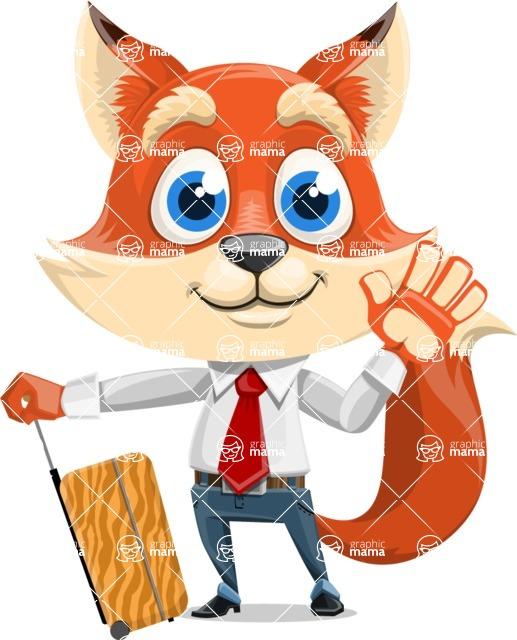 Fox Businessman Cartoon Vector character AKA Ben Tails - Travel 1