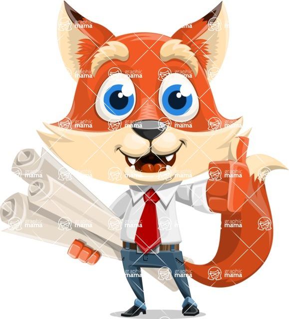 Fox Businessman Cartoon Vector character AKA Ben Tails - Plans