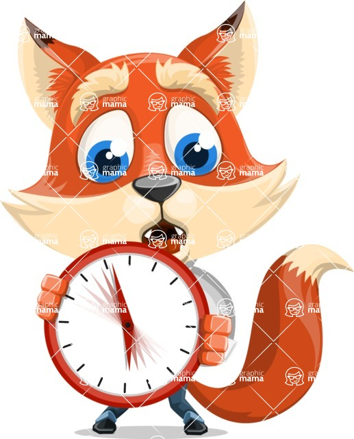 Fox Businessman Cartoon Vector character AKA Ben Tails - Time is Yours
