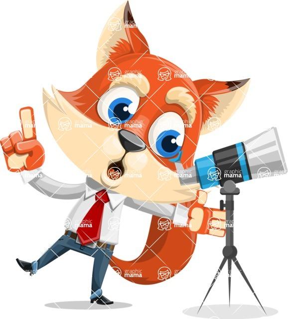 Fox Businessman Cartoon Vector character AKA Ben Tails - Telescope