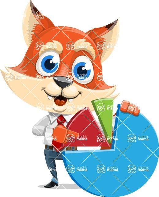 Fox Businessman Cartoon Vector character AKA Ben Tails - Chart
