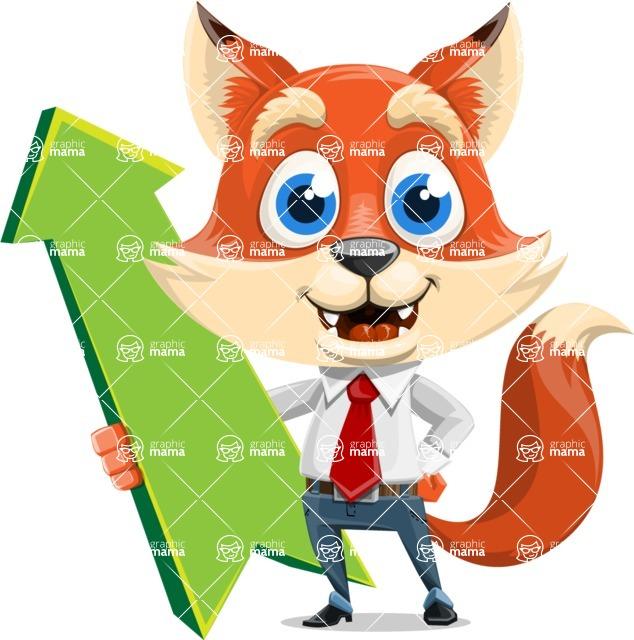 Fox Businessman Cartoon Vector character AKA Ben Tails - Pointer 1
