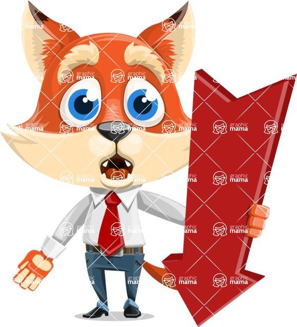 Fox Businessman Cartoon Vector character AKA Ben Tails - Pointer 3