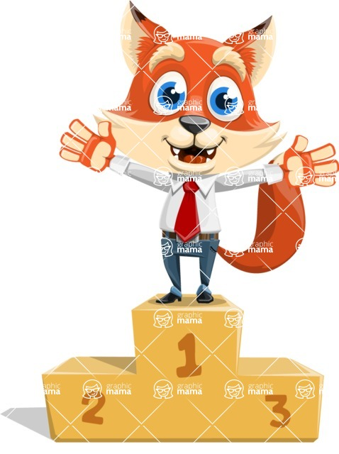 Fox Businessman Cartoon Vector character AKA Ben Tails - On Top
