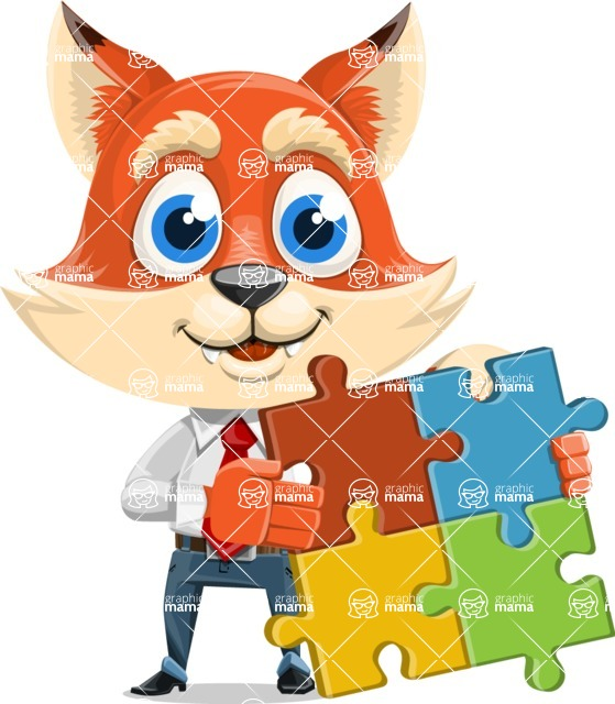 Fox Businessman Cartoon Vector character AKA Ben Tails - Puzzle