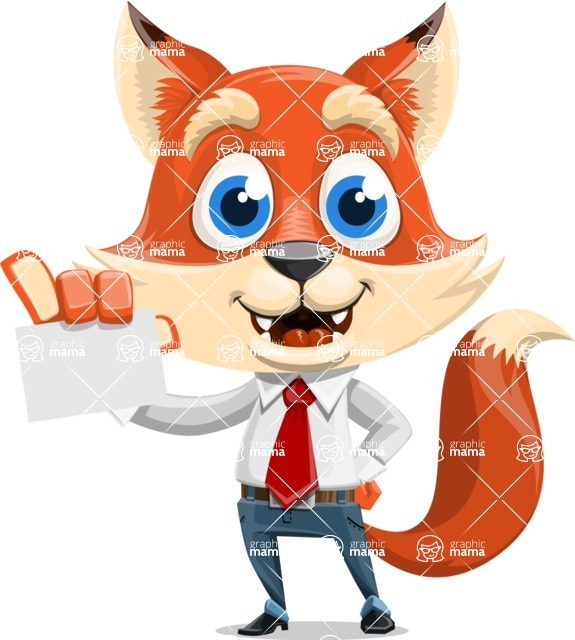 Fox Businessman Cartoon Vector character AKA Ben Tails - Sign 1