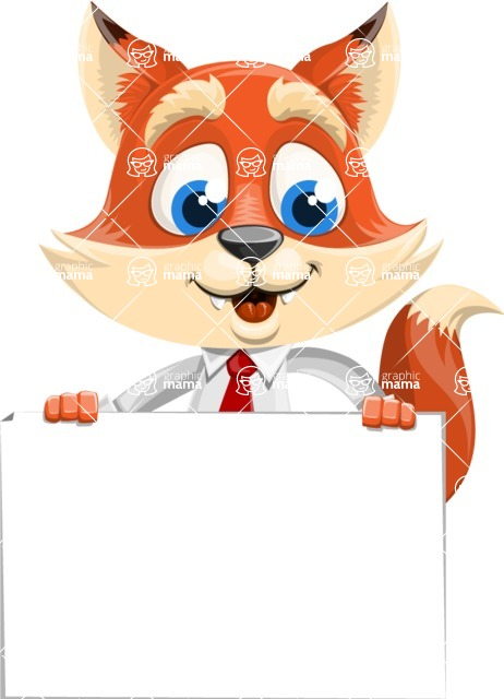 Fox Businessman Cartoon Vector character AKA Ben Tails - Sign 6