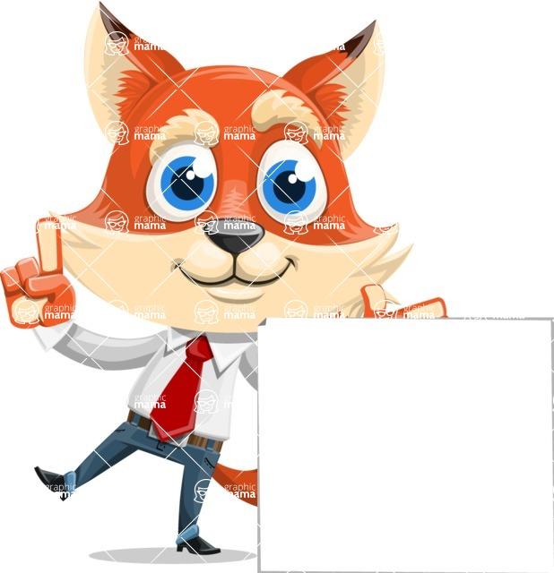 Fox Businessman Cartoon Vector character AKA Ben Tails - Sign 7
