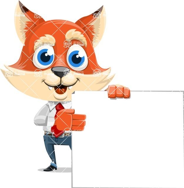 Fox Businessman Cartoon Vector character AKA Ben Tails - Sign 8