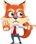 Fox Businessman Cartoon Vector character AKA Ben Tails - Direct Attention 2