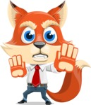 Fox Businessman Cartoon Vector character AKA Ben Tails - Stop