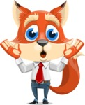 Fox Businessman Cartoon Vector character AKA Ben Tails - Shocked