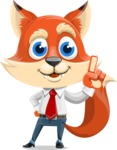 Fox Businessman Cartoon Vector character AKA Ben Tails - Attention
