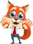 Fox Businessman Cartoon Vector character AKA Ben Tails - Hello