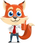 Fox Businessman Cartoon Vector character AKA Ben Tails - Thumbs Up