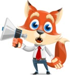 Fox Businessman Cartoon Vector character AKA Ben Tails - Loudspeaker