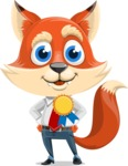 Fox Businessman Cartoon Vector character AKA Ben Tails - Ribbon