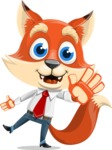 Fox Businessman Cartoon Vector character AKA Ben Tails - Wave