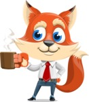 Fox Businessman Cartoon Vector character AKA Ben Tails - Coffee